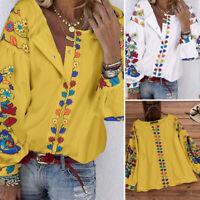 Mode Femme Manche à souffler Floral Col Rond Simple Casual Loose Shirt Tops Plus
