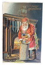 Vintage Christmas Postcard - Santa w/gold Embossing by Fireplace 1908