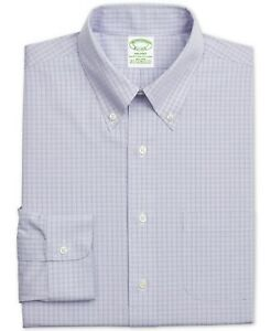 BROOKS BROTHERS Men's Milano Fitted Stretch Non-Iron Dress Shirt, Purple Check