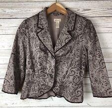 Elevenses 6 Anthropologie Lined Paisley Baroque Ribbon Trim Blazer Jacket v2