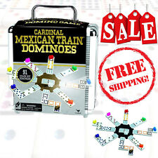 Mexican Train Dominoes Game Set Double 12 Color Domino Cardinal Aluminum Case