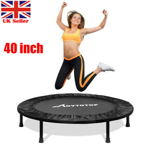 MOVTOTOP 40in Foldable Round Trampoline Bounce Spring Gymnastic Sport Yoga Gym