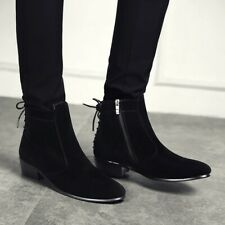 Mens Ankle Boots Pointed Toe Casual Block Heel Booties Strappy Shoes Side Zip