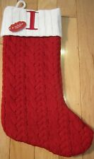"St. Nicholas Square Initialed Red Cable Knit Christmas Stocking w/ Letter ""I"""