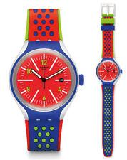 Swatch XLite Vermelho Reloj YES4016 Análogo Silicona Azul,De colores,Rojo