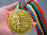 1992 Barcelona Olympic 'Gold' Medal with Ribbon 1:1 in size **Free Shipping*