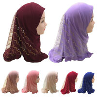 Muslim Girls Kids Hijab Islam Headscarf Mesh Scarf Head Cover One Piece Children
