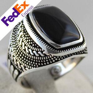 925 Sterling Silver Turkish Handmade Ottoman Onyx Men's Luxury Ring All Sizes