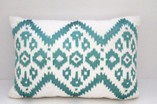 Bar III Box Pleat Decorative Pillow Embroidered Ikat Teal White
