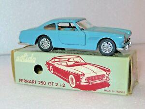 SOLIDO 123 FERRARI 250 GT 2+2. NEAR MINT RARE PALE BLUE MODEL IN GOOD BOX.