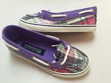 New Girls Sperry Carline Purple/ Multi/plaid Youth Size - 11