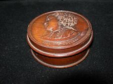 Rare 1800's Cameo SNUFF BOX TREEN~Miss C.L. Kellogg-Opera Singer~ANTIQUE WOOD