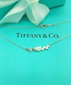 "Tiffany & Co. Rare Silver Paloma Picasso Multi Heart Bar Cluster 16"" Necklace"