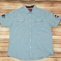 Smoke Rise TRMK Mens XL Blue Check Motorcycle Biker Short Sleeve Shirt