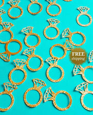 Bachelorette party decoration,Engagement ring confetti,Gold glitter