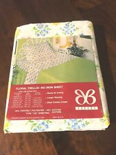 Vintage Bibb Floral Trellis Full Flat Sheet No-Iron Unused NOS