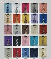 Men's Cotton Blend Dress Shirt with Tie and Handkerchief in 25 different colors