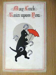 Vintage Comic Postcard May Luck Rain Upon You (+Three Half Penny Stamp)