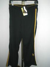 NWT Women's JingaBrasil Athletic Pants UV 50+ Size Small Black w/Yellow Trim