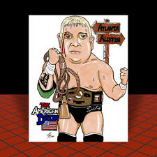 Vintage DUSTY RHODES in black trunks NWA ART, artist signed, pro wrestling, WWF