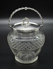 BEAUTIFUL CRYSTAL CUT GLASS ROUND BISCUIT BARREL BON BON DISH SILVER PLATED