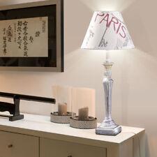 Nacht-Tisch Leuchte Wohn-Zimmer Lese Textil Schalter Lampe 42 cm Paris Design