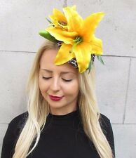 Leopard Print Yellow Lily Flower Fascinator Hair Clip Headpiece Statement 573