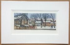 "1988 Nicole Ouellet Signed Aquatint Etching - Quebec Winter Scene - Mat 12""x19"""