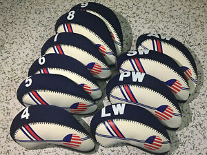 10PCS Set Of USA Flag Blue Golf Iron Club Headcovers Covers for Taylormade M5 M6