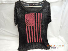 ROCK & ROLL COWGIRL TOP-MEDIUM-BLACK-AMERICAN FLAG GRAPHIC-DISTRESSED-AS IS!
