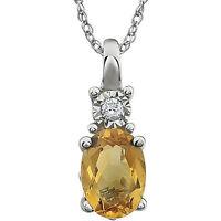 "Genuine Citrine Oval Cut Gem & Diamond 18"" Pendant Chain Necklace14K. White Gold"