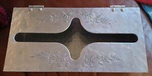 Vintage Hammered Aluminum Tissue Kleenex Holder~Floral Design