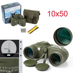 Military 10x50 Optics Binoculars Night Vision Rangefinder Telescope&Compass&bag