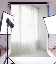 5x7ft White curtains Backdrop Photography Studio Props Background Vinyl