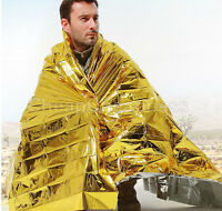 Gold Emergency Solar Survival Blanket Safety Insulating Mylar Thermal HeatBFDBU