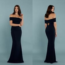 NEW KATIE MAY Navy Blue Legacy Off the Shoulder Body-con Stretch Crepe Gown 4 US