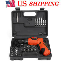 45Pcs Rechargeable Cordless Electric Screwdriver Tool Bit + Lithium Battery US