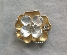 Rare Vitnage Chanel Gold Silver Metal Crystal Flower Big Buttons CC Logo
