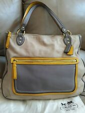COACH POPPY HALIE TOTE LARGE CAPPUCCINO/OYSTER GLAM  VGC w/ DUST COV MSRP. 348.
