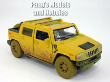 Hummer H2 SUT 1/40 Scale Diecast Metal Model by Kinsmart - YELLOW/MUDDY