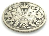1913 Canada 10 Ten Cent Dime Circulated George V Canadian Coin L397