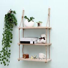 Wall Hanging Shelf Wood Rope Swing Shelves Baby Kids Room Storage Holder Decor
