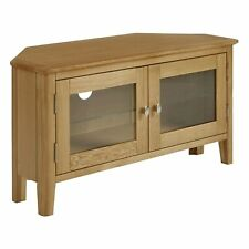 Mid Century Oak Corner TV Cabinet Stand Media Storage Furniture Entertainment