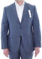 Bar III Slim Fit Mid Blue Striped Wool Blend 2 Button Suit w/ Peak Lapels