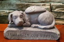 Dog Memorial Statue Pet Sleeping Puppy Angel Wings Grave Marker Keepsake Outdoor
