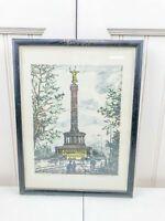 Vintage German Etching Berlin Siegessaeule Victory Column Signed Framed Color