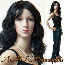 Female mannequin+base, head, arms turn, durable dress form manikin-Janice+2Wigs