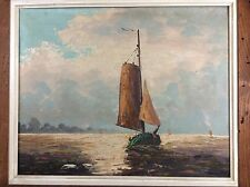Vintage Oil Painting Ships On Ocean Artist Signed Left Circa 50's