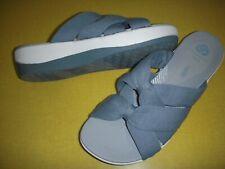 Clarks Arla Dristi CloudSteppers Jersey Slides Sandals Women's 9.5 W Blue Grey