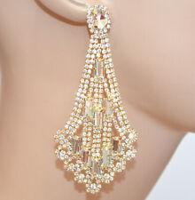 ORECCHINI ORO donna dorati cristalli trasparenti pendenti strass eleganti BB62